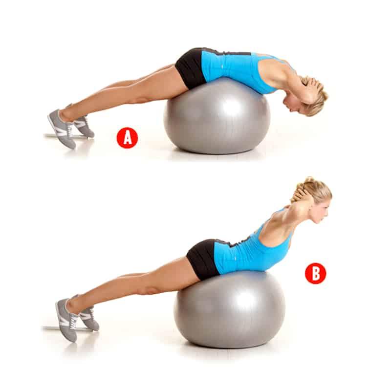 Упражнение гиперэкстензия на фитболе